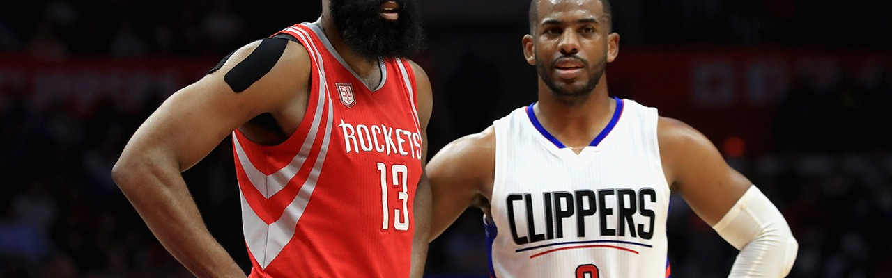 Houston Rockets point guard James Harden with Chris Paul