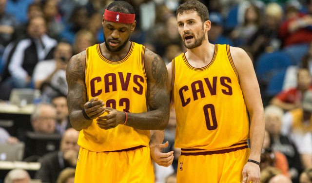 Lebron James and Cleveland Cavaliers power forward Kevin Love