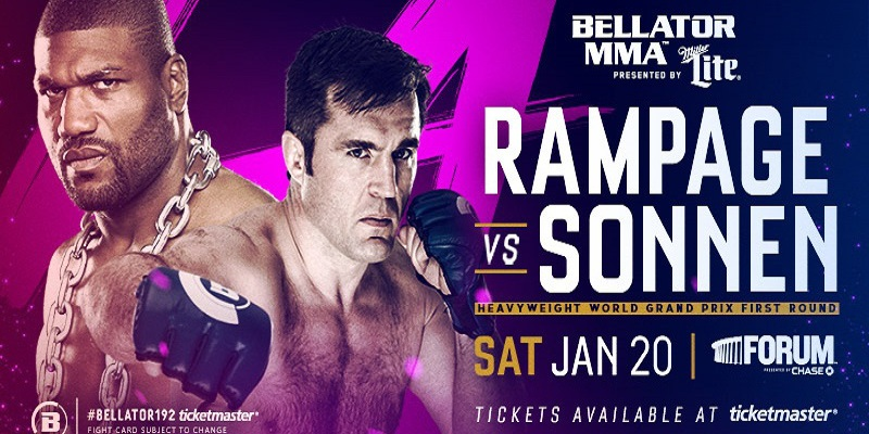Rampage Jackson and Chael Sonnen on the Bellator 192 poster